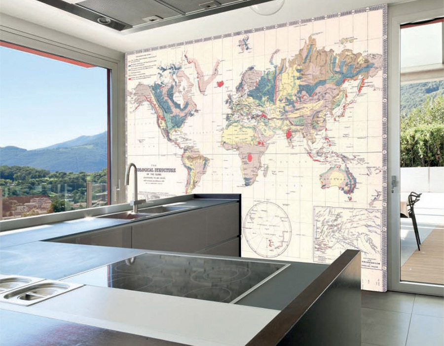Travel From Home With Vintage World Map Wallpaper Murals - Floor to ceiling world map